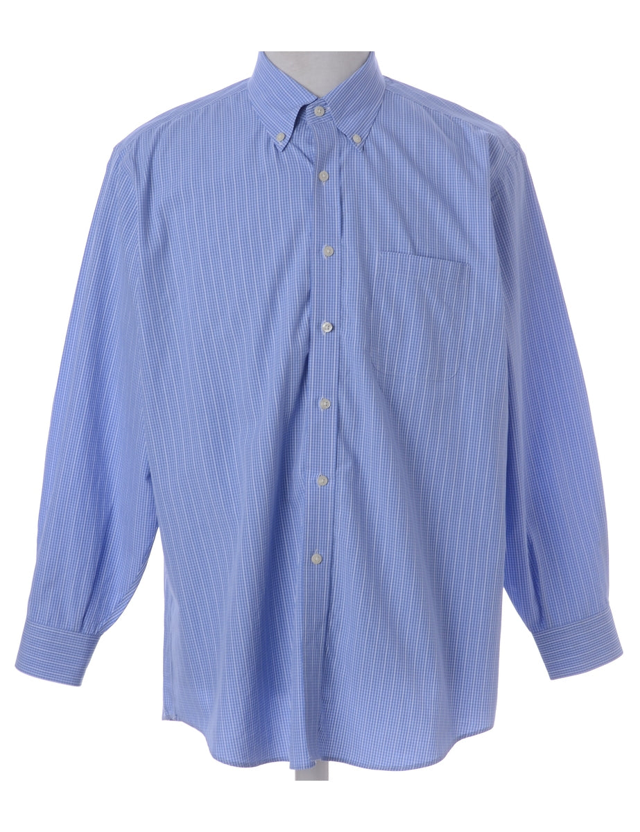 Beyond Retro Label Blue Checked Shirt