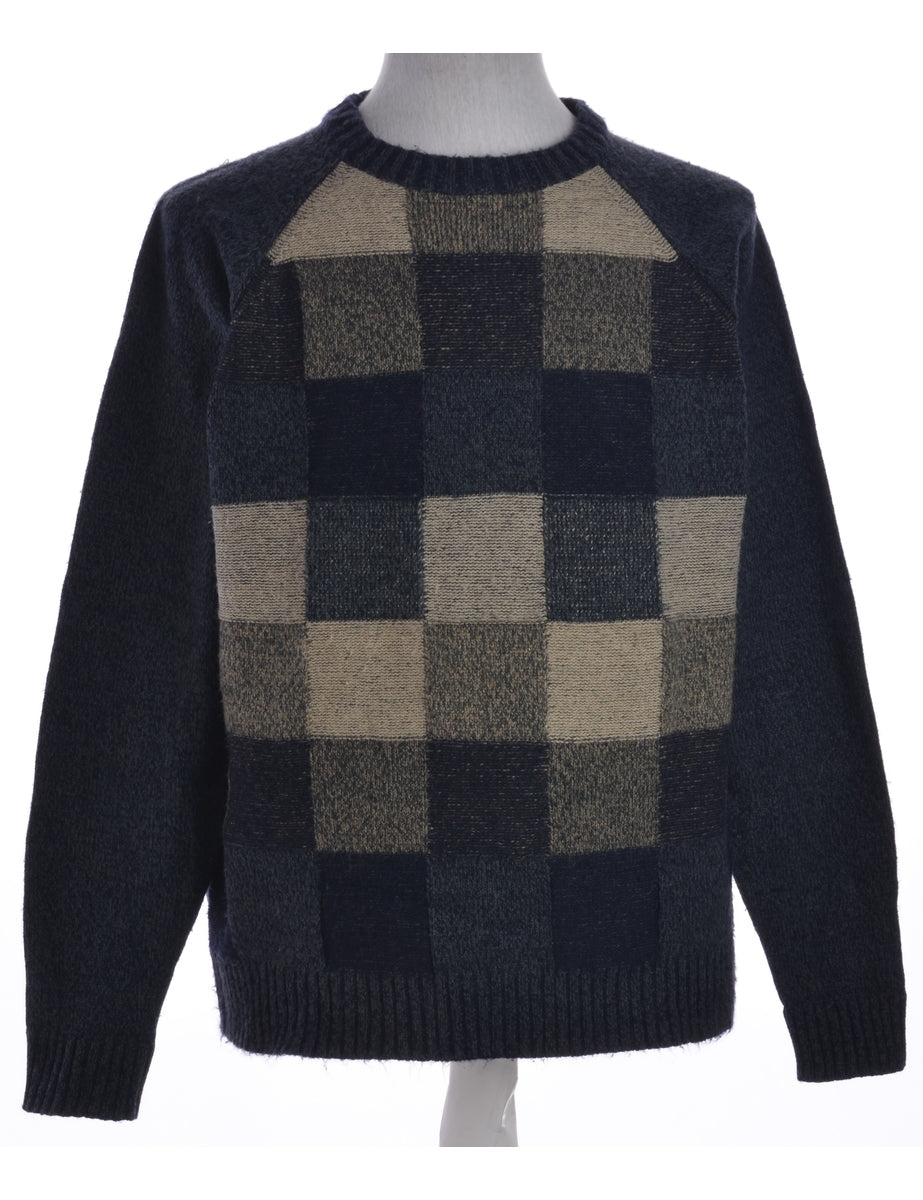 Beyond Retro Label Checked Jumper