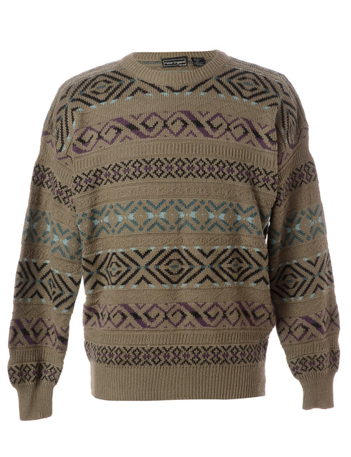 Patterned Brown Jumper