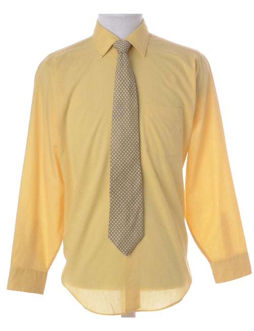 Yellow Shirt And Tie Set