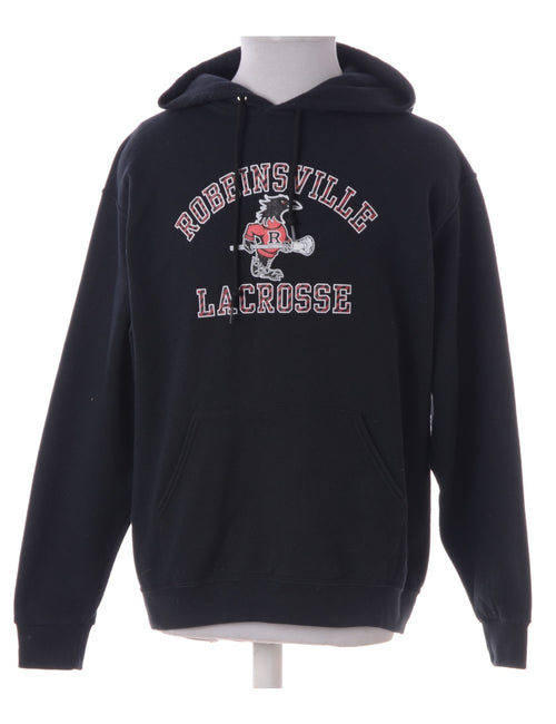 Black Hooded Sports Sweatshirt