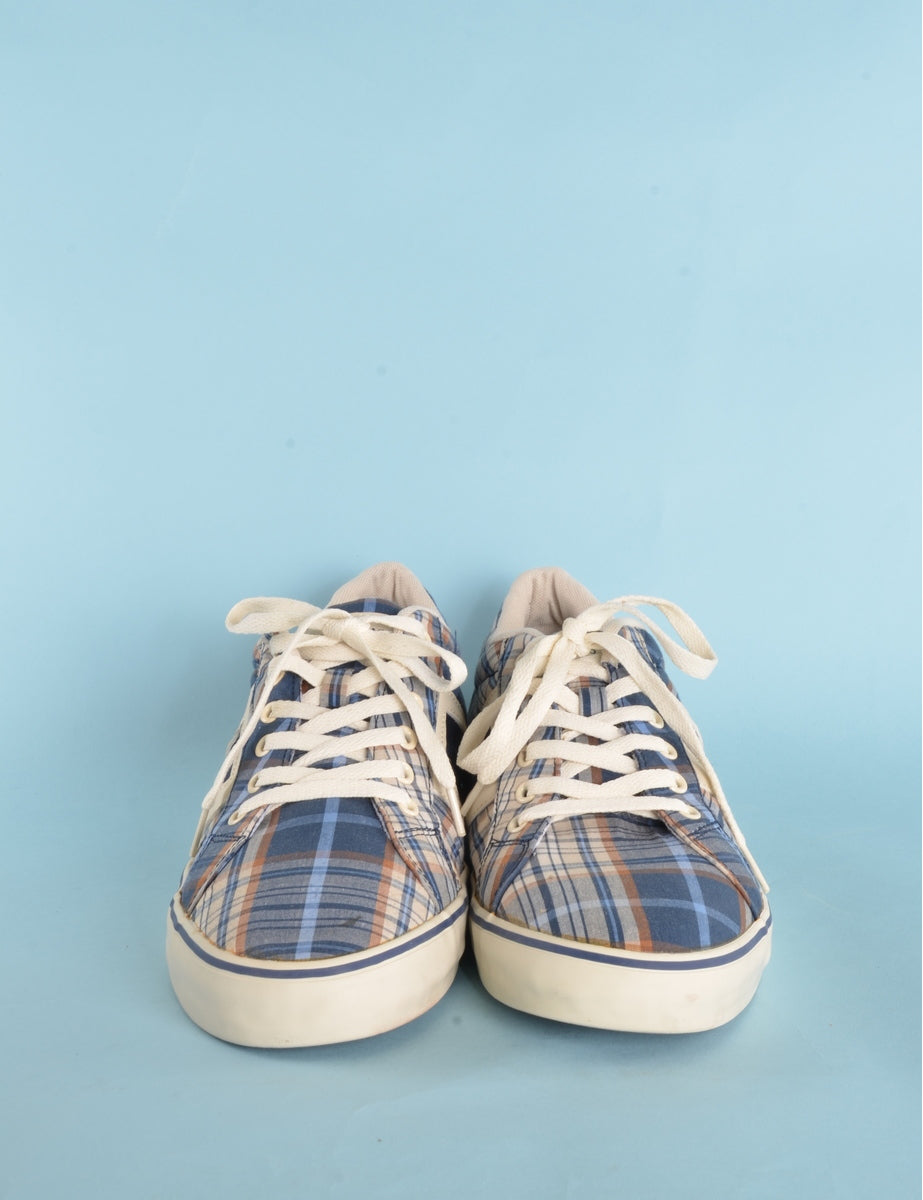 Beyond Retro Label Checked Trainers