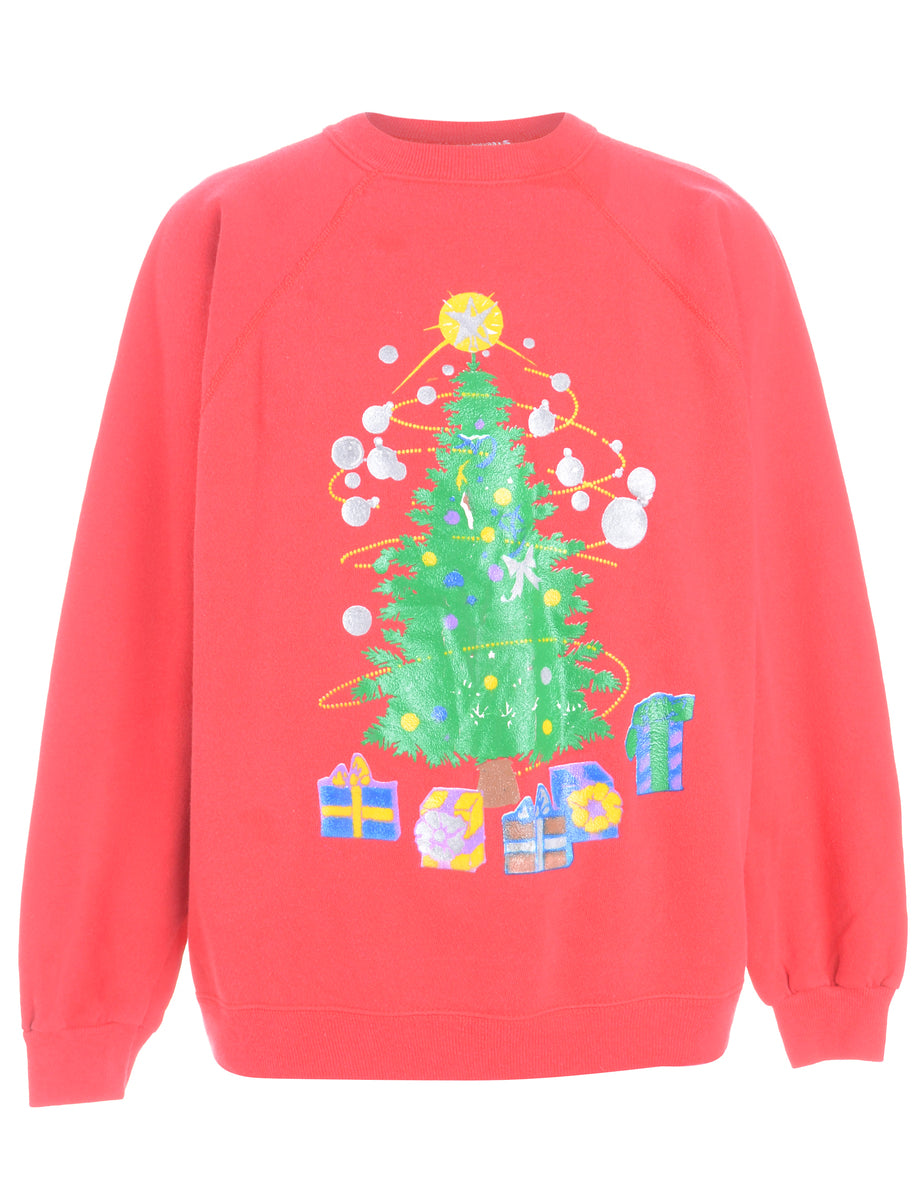 Beyond Retro Label Christmas Tree Print Christmas Sweatshirt