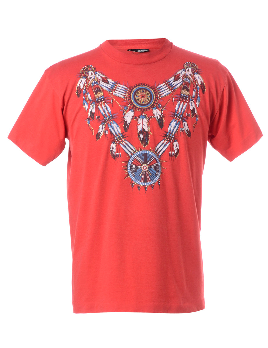 Beyond Retro Label Folky Native Printed T-shirt