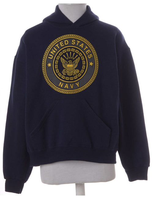Navy Hooded Sports Sweatshirt