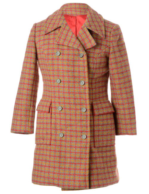 1970s Checks Wool Coat
