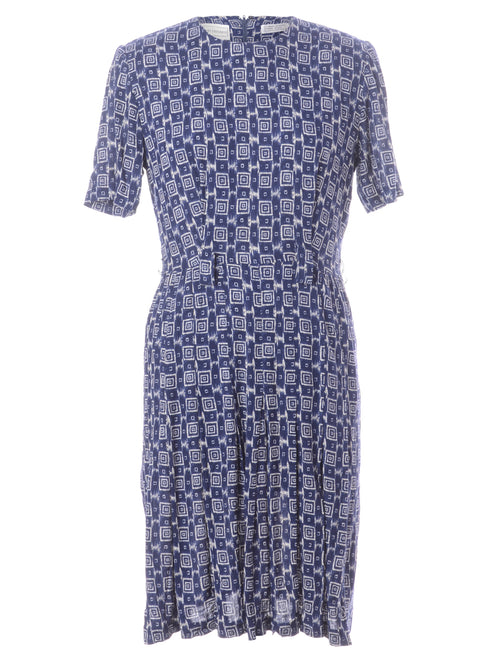 90's Navy Patterned Midi Dress