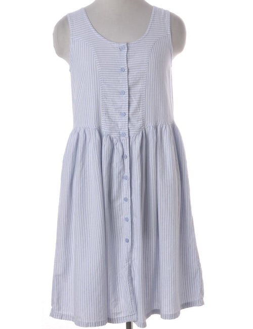 90s Blue Striped Pinafore Dress
