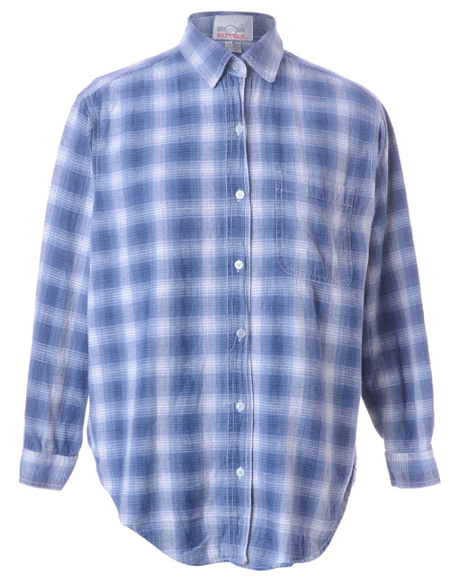 Blue Checked Flannel Shirt