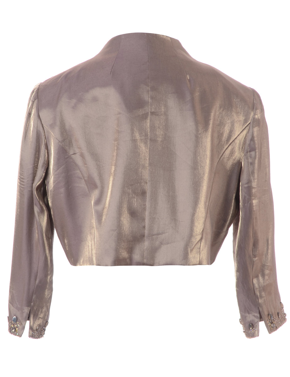 Beyond Retro Label Brown Shiny Cropped Jacket