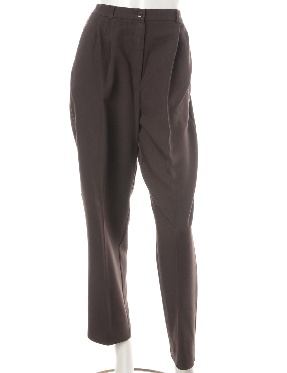 Beyond Retro Label Brown Smart Trousers