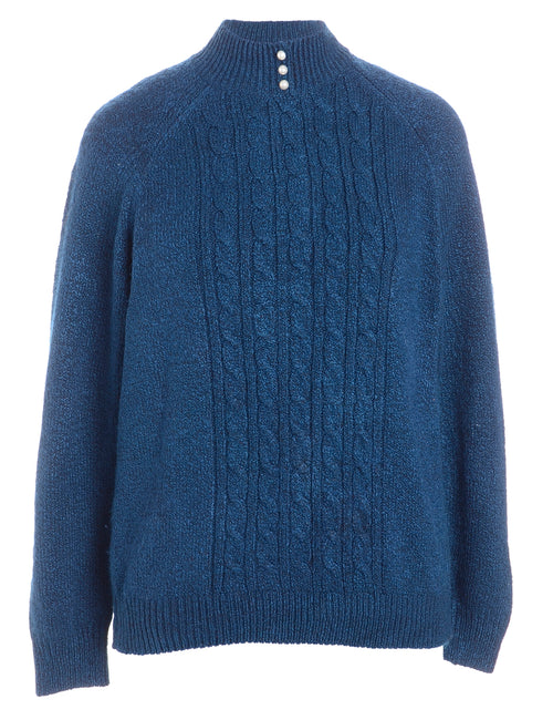 Cable Knit Polo Neck Jumper