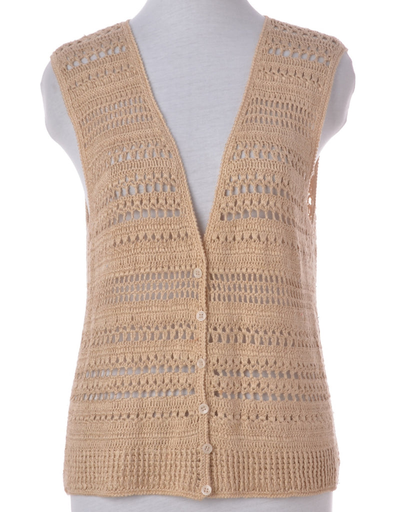 Womens Crochet Vest Brown M Beyond Retro E00350965