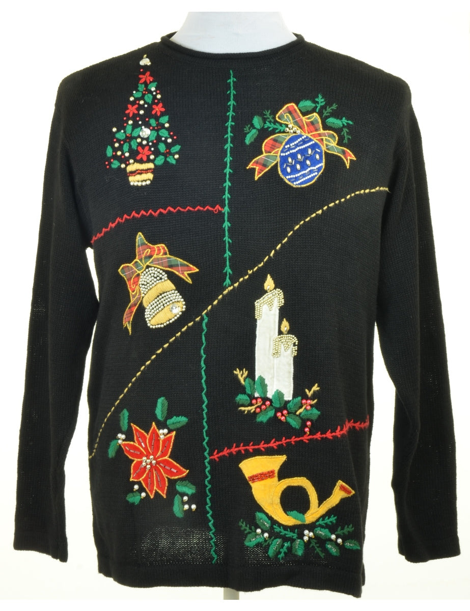 Beyond Retro Label Embroidered Christmas Jumper