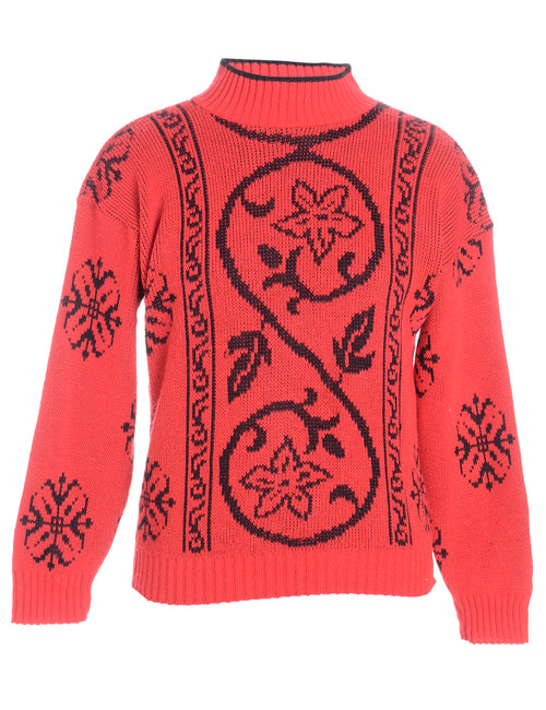 Floral Polo Neck Jumper