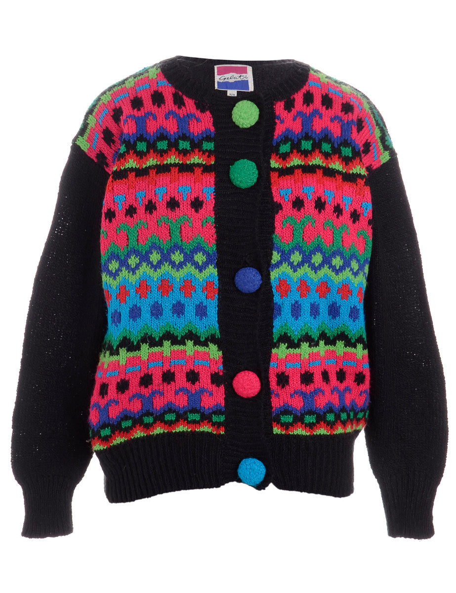 Beyond Retro Label Geometric Cardigan