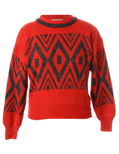 Geometric Red Jumper