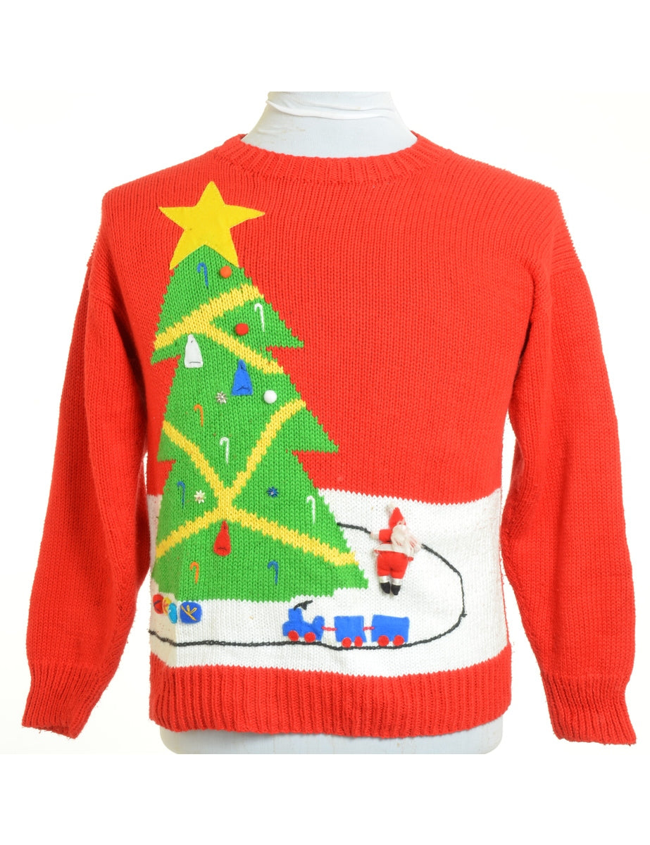 Beyond Retro Label Hand Knitted Christmas Jumper