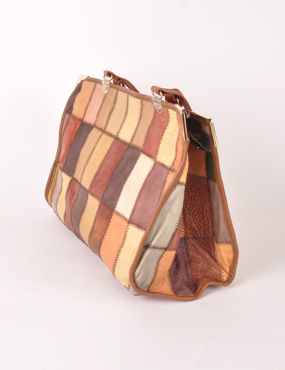 Beyond Retro Label Leather Patchwork Shopper