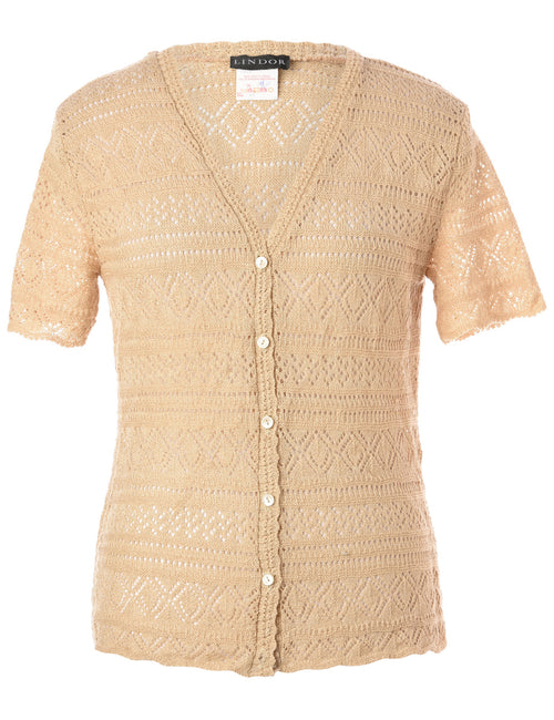 Light Brown Crochet Cardigan