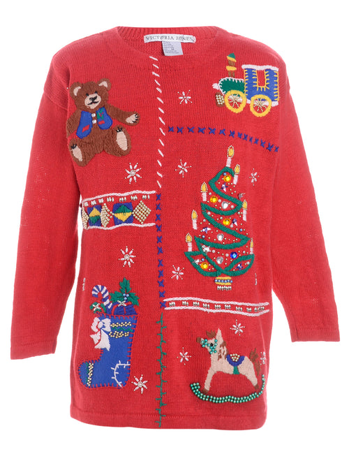 Teddy Bear Design Christmas Cardigan
