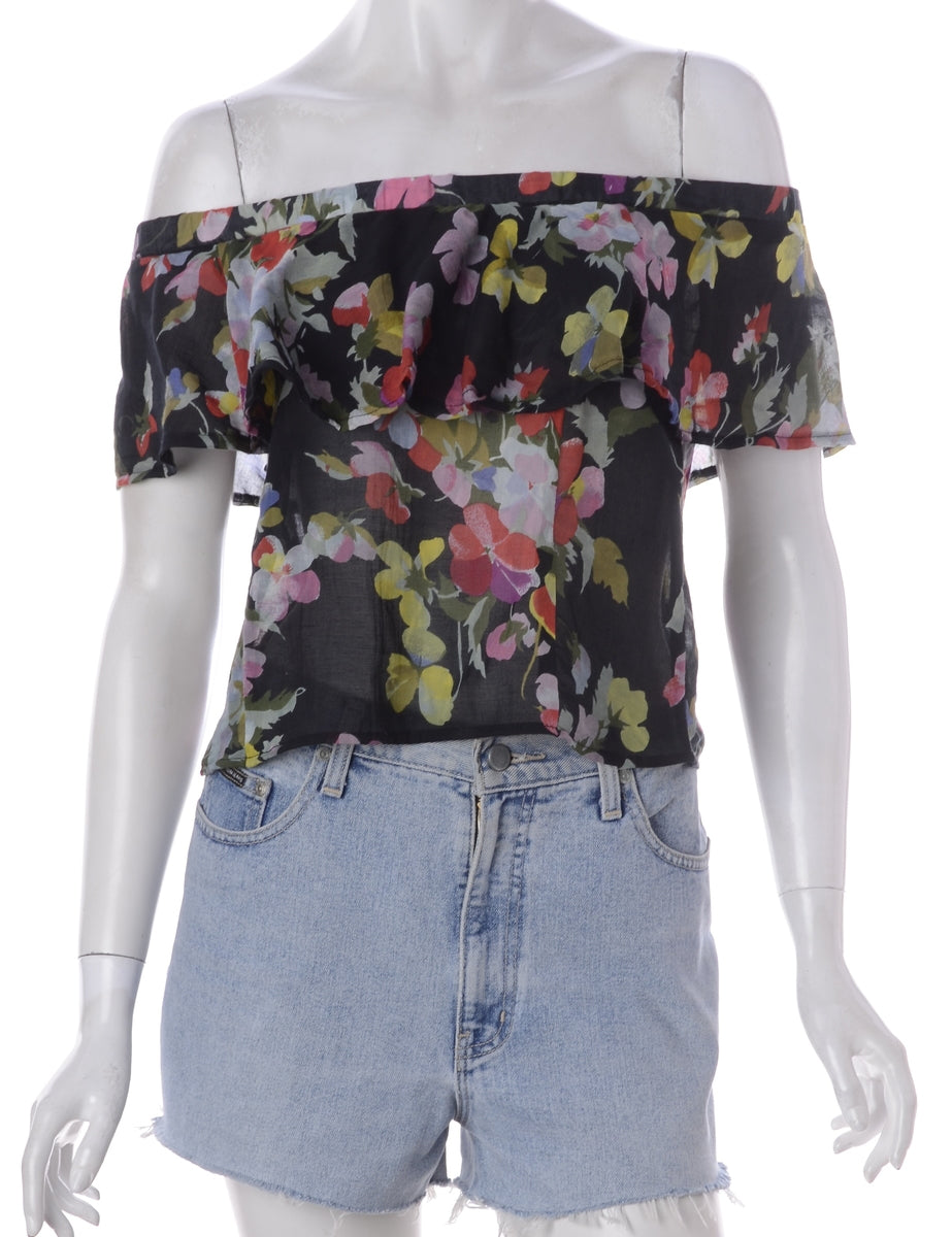 Label Frill Printed Top