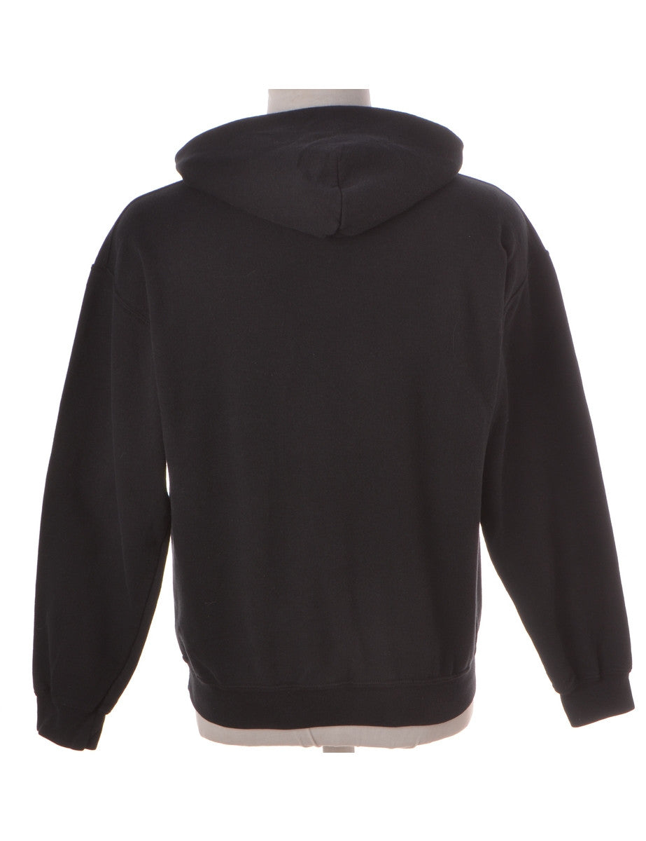 Printed Sweatshirt Black With A Kangaroo Pocket