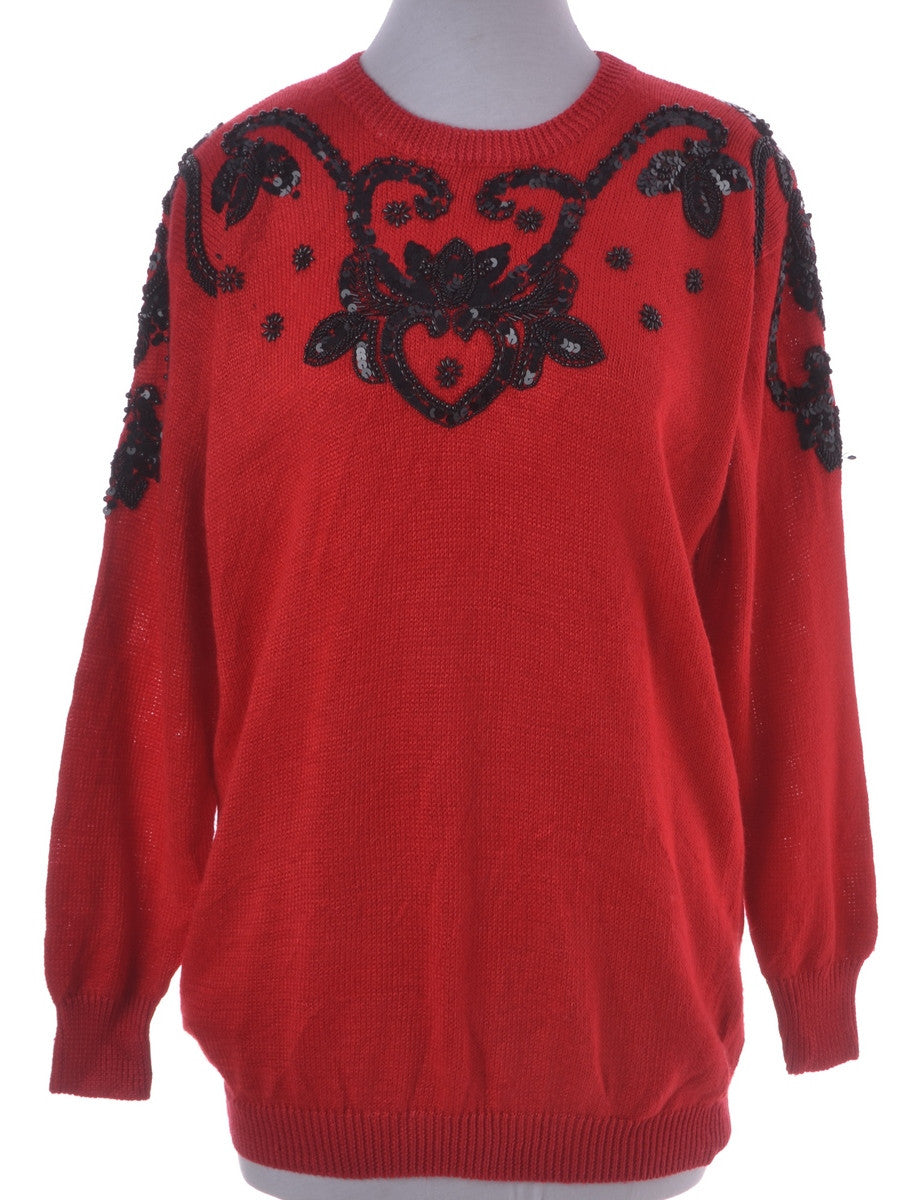 Jumper Red With A Drop Shoulder