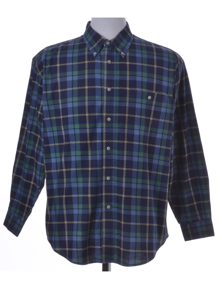 Checked Shirt Blue With A Button Down Collar