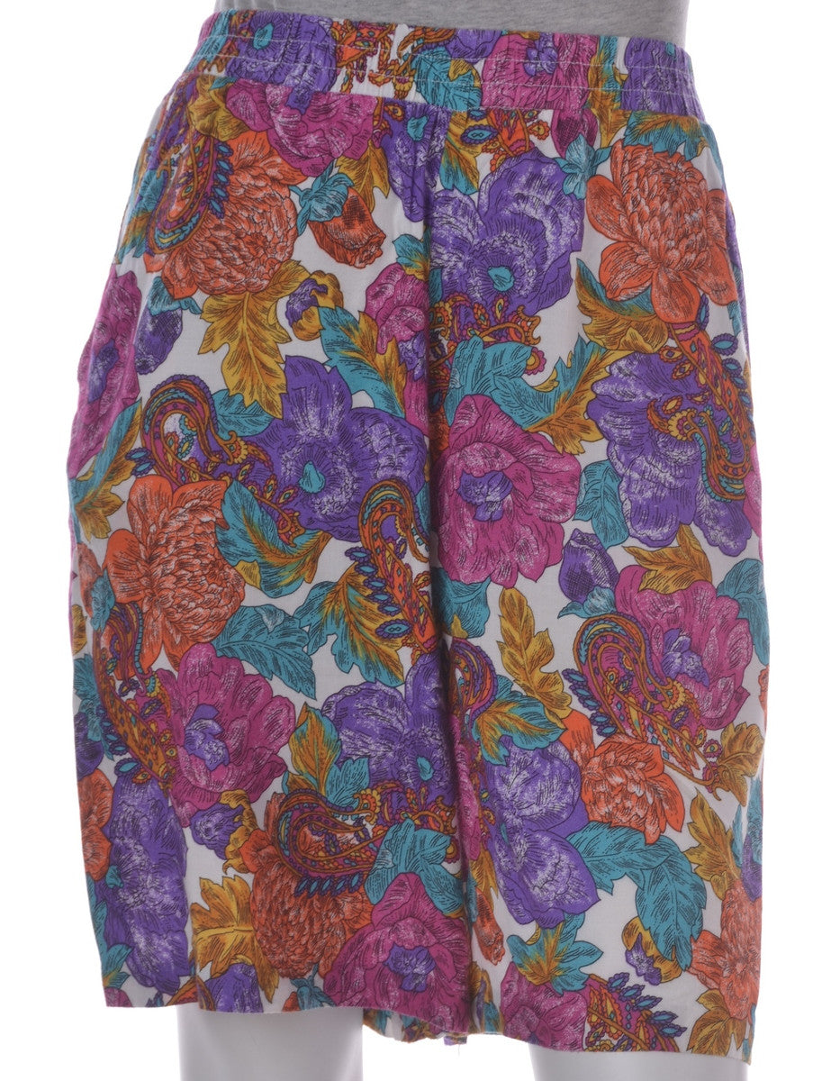 Vintage Casual Shorts Multi-colour With Pockets