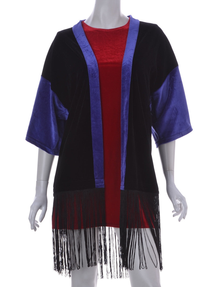 Beyond Retro Label Velvet Kimono Black With Fringing