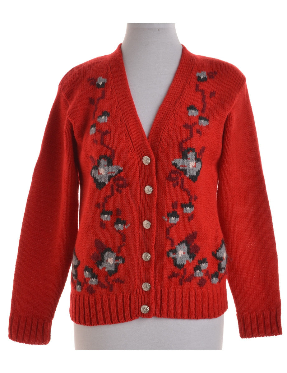Vintage Cardigan Red With Decorative Buttons