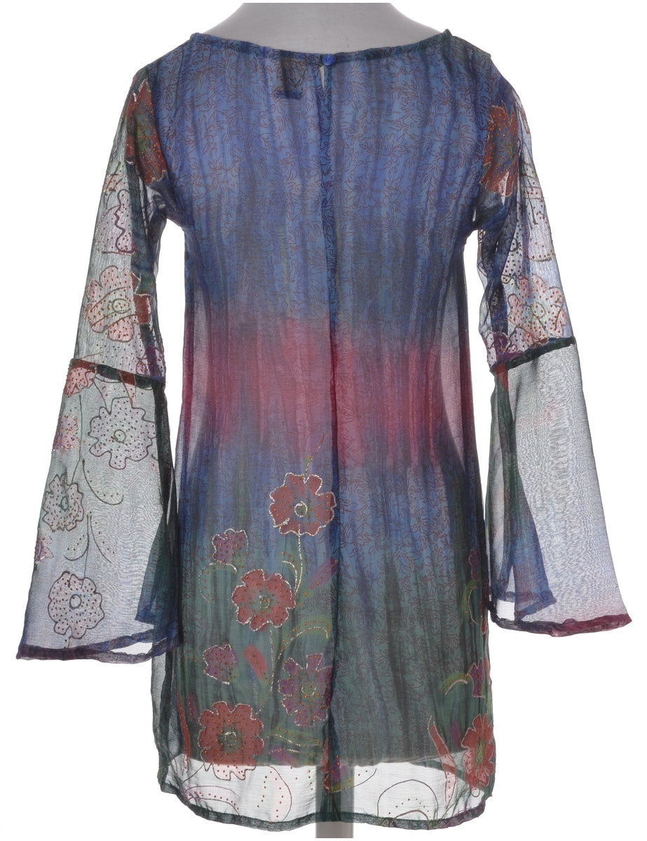 Multi-colour Bell Sleeve Dress