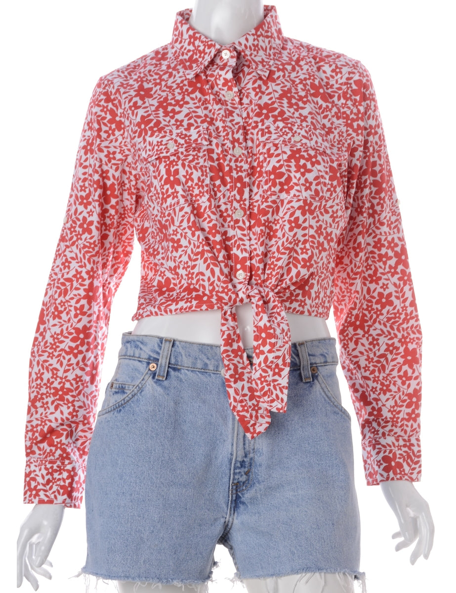 Label Jessie Cropped Patterned Shirt With Tie Front
