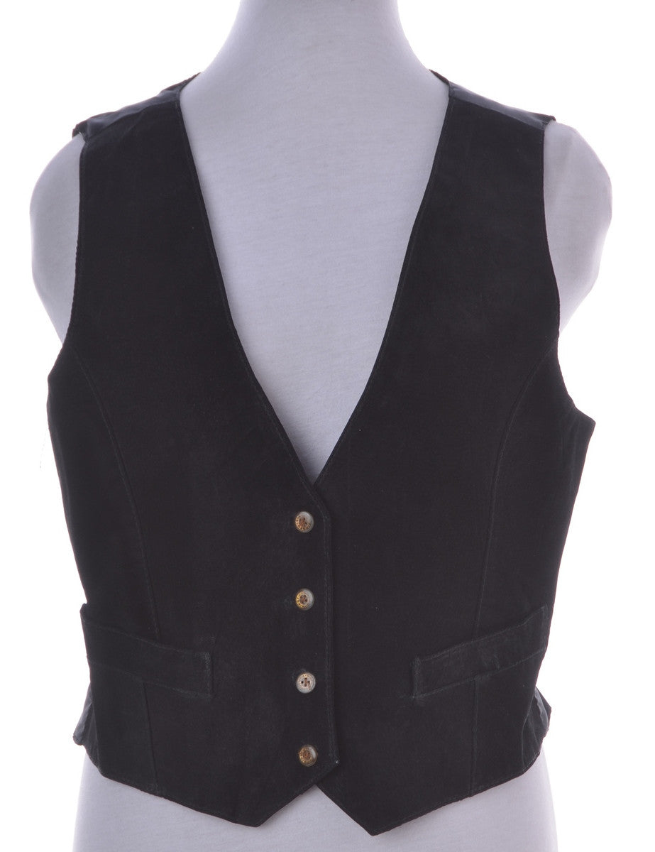 Waistcoat Black With Decorative Pockets