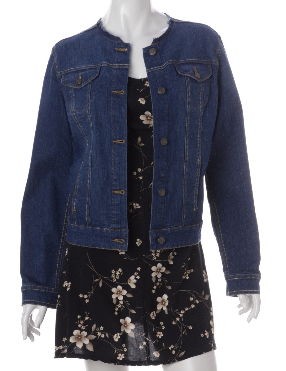 Label Indigo Collarless Denim Jacket