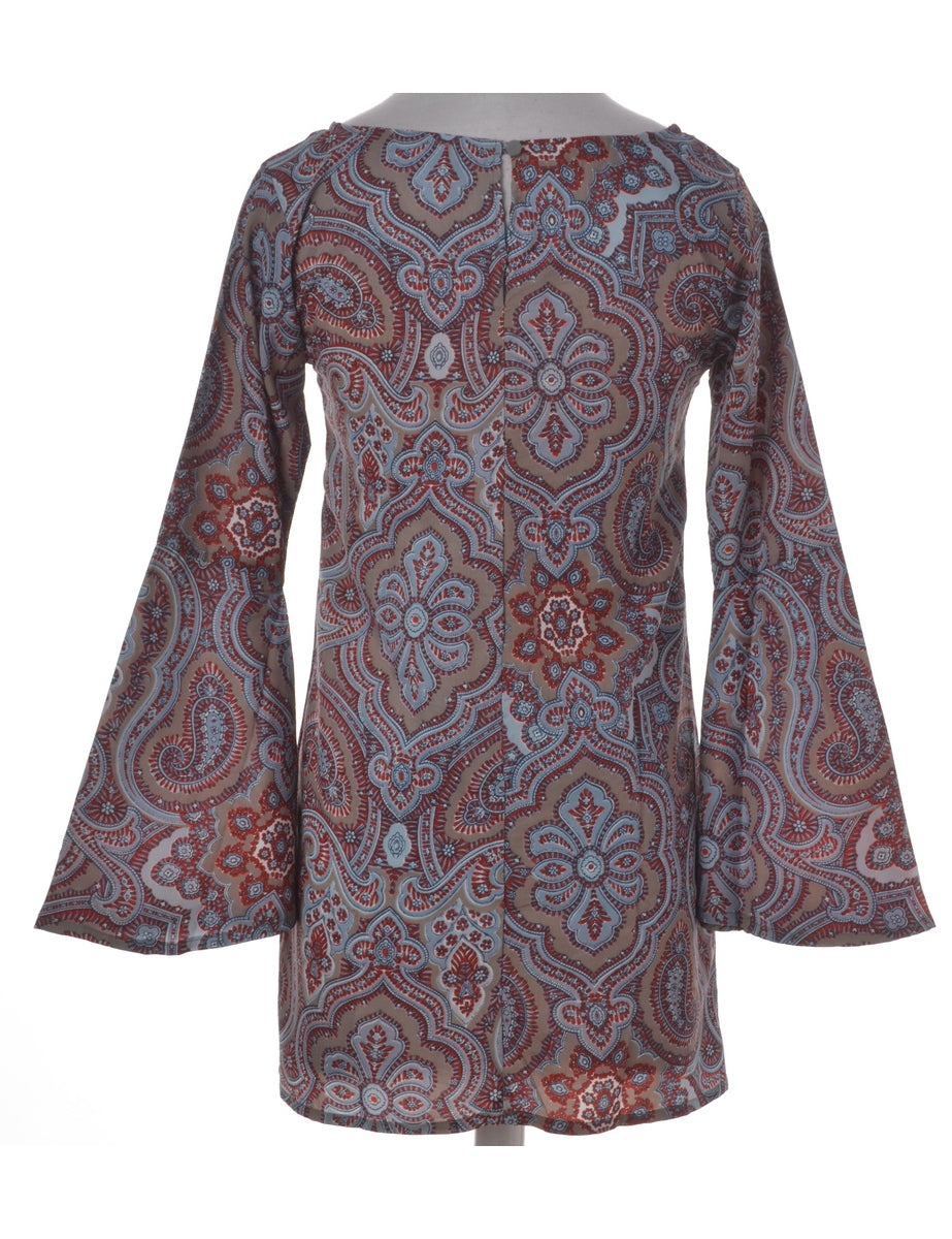 Paisley Pattern Bell Sleeve Dress
