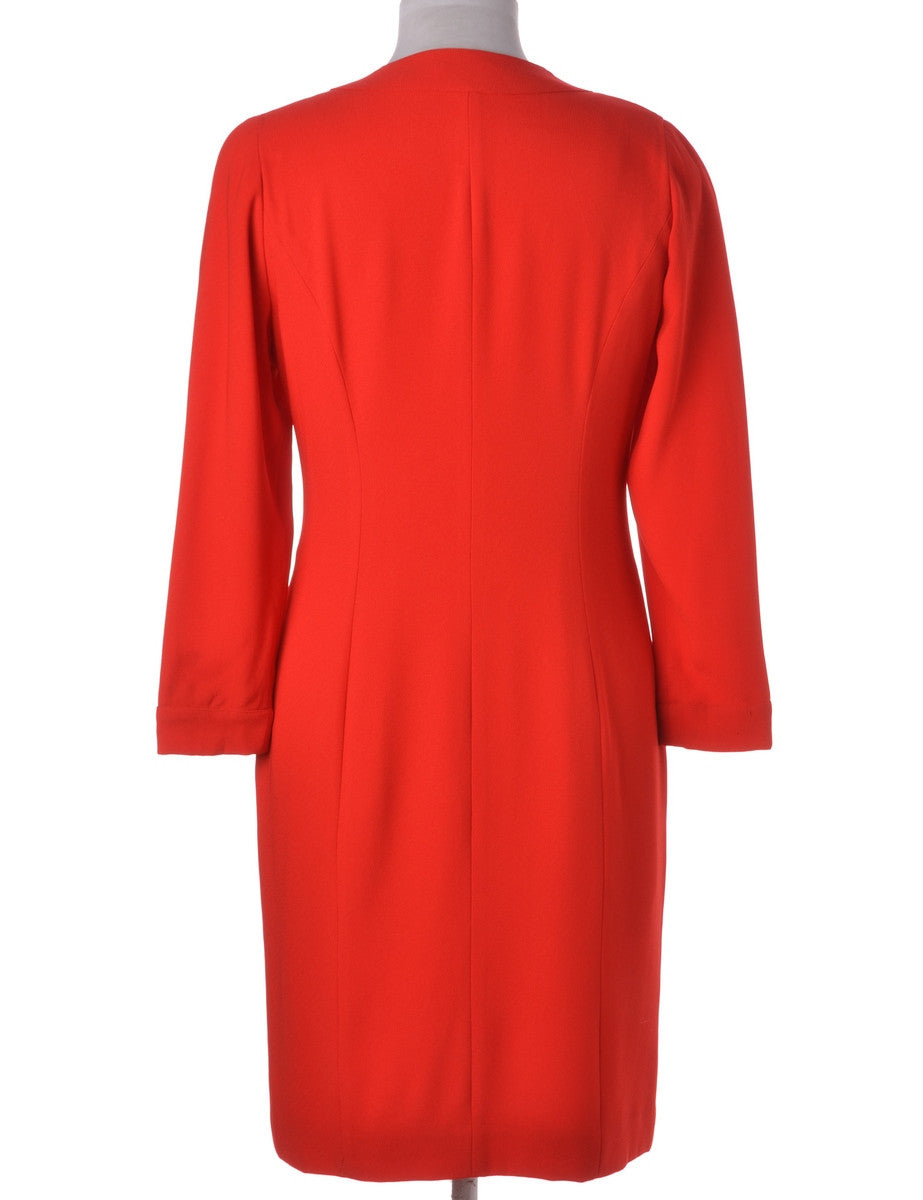 Winter Dress Red With Contrasting Buttons