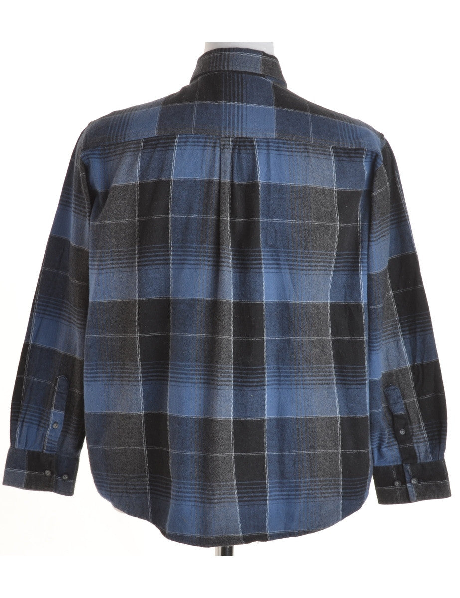 Checked Shirt Black With A Button Down Collar