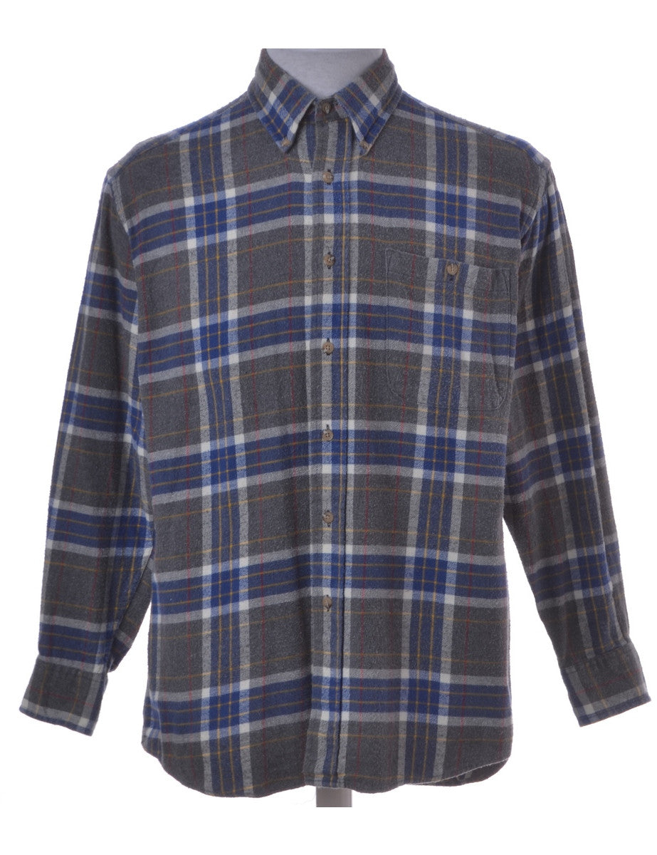Checked Shirt Grey With A Button Down Collar