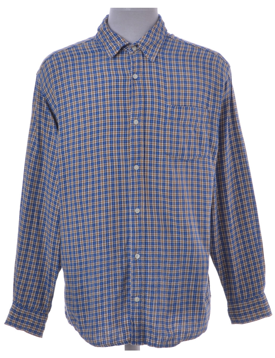 Checked Shirt Blue With One Pocket
