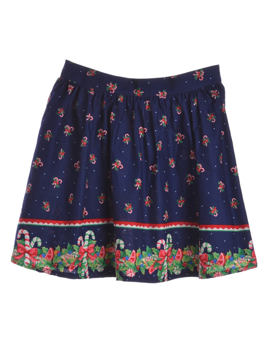 Beyond Retro Label Christmas Print Skirt Blue With Back Zipper