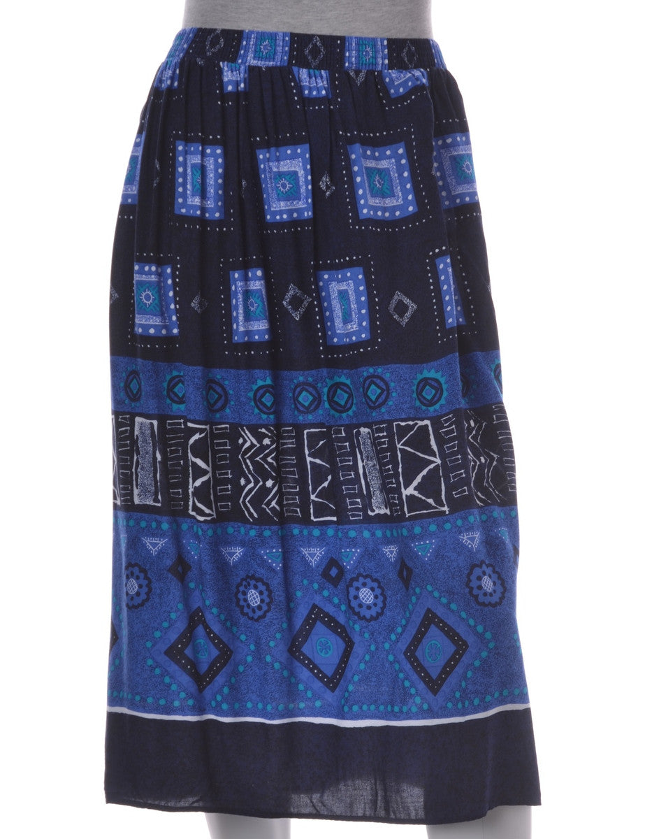 Midi Skirt Navy With An Elasticized Waist