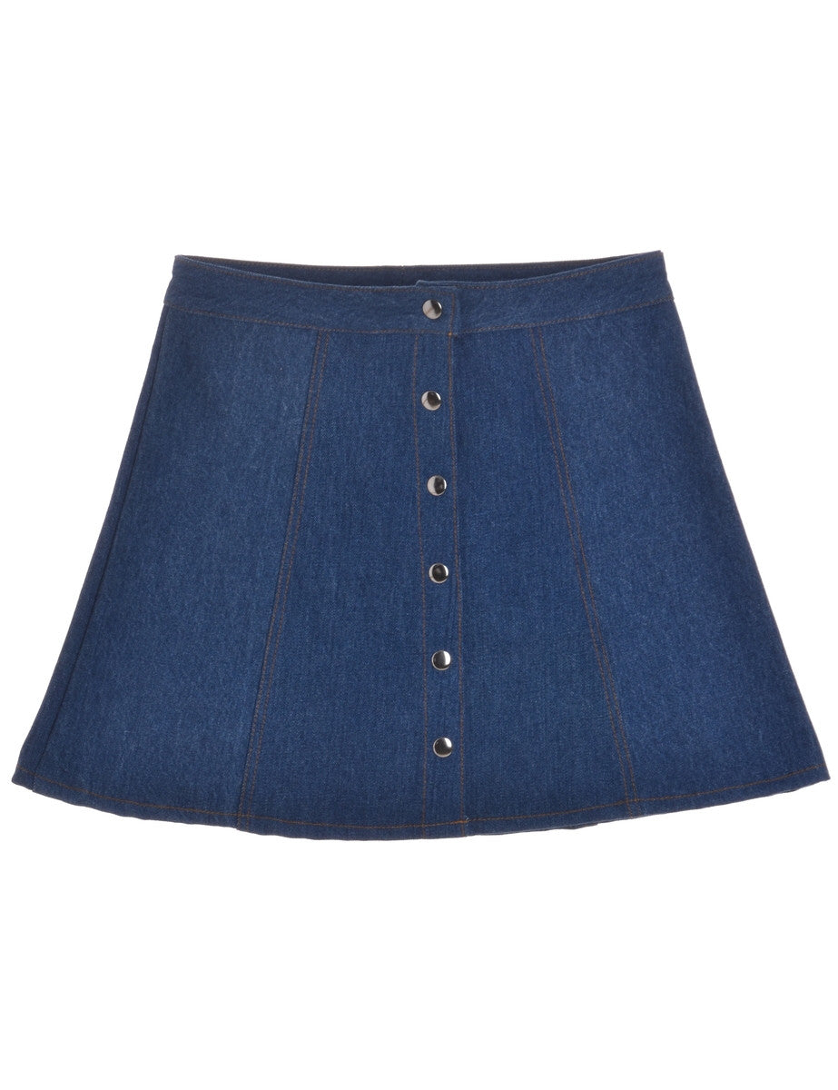 Beyond Retro Label Denim Popper Skirt Blue