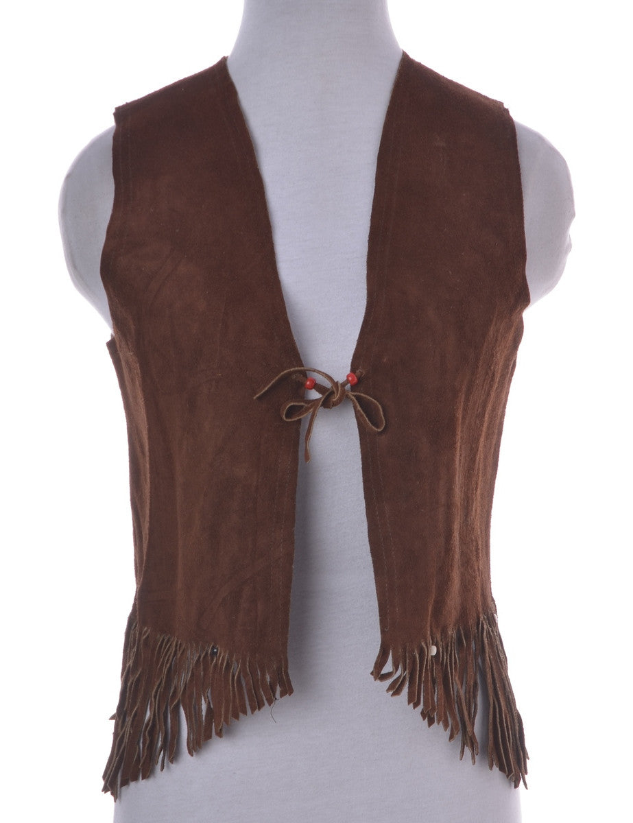 Waistcoat Brown With Fringing