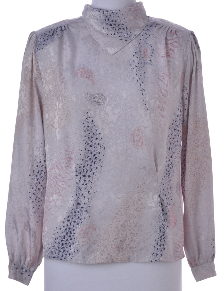 Printed Top Grey With Built In Shoulder Pads
