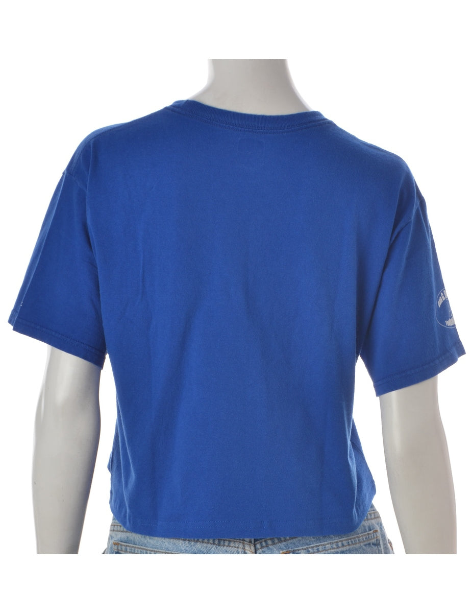 Label Blue Cropped Sports T-shirt