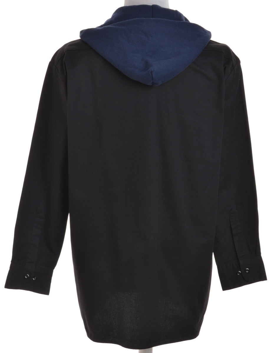 Beyond Retro Label Hooded Shirt Black With Chest Pockets