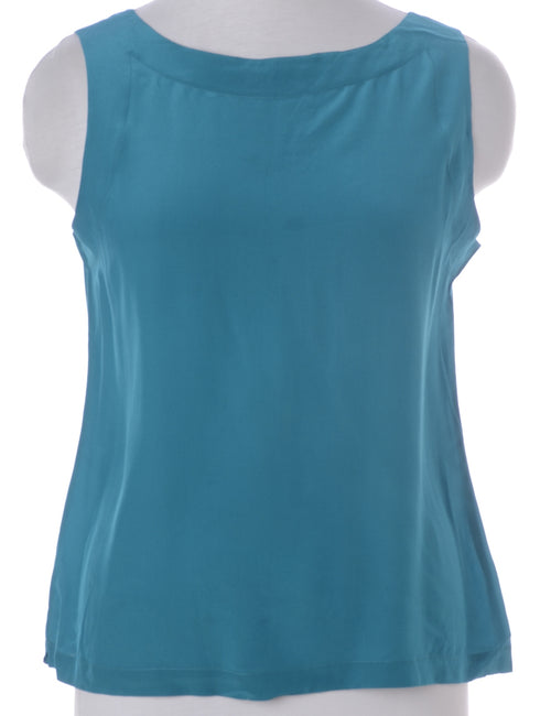 Vintage Vest Turquoise With A Round Neck