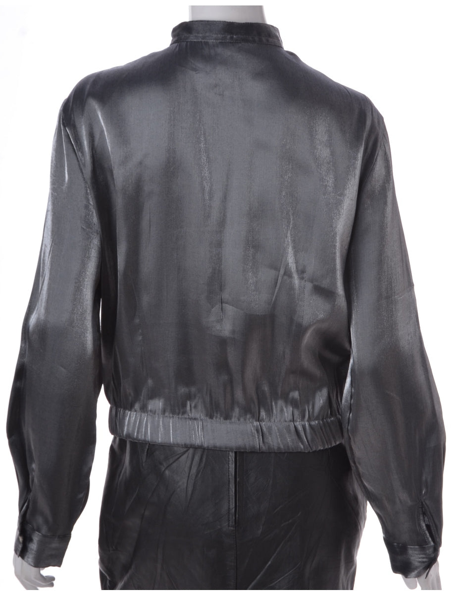 Label Silver Blouse Bomber